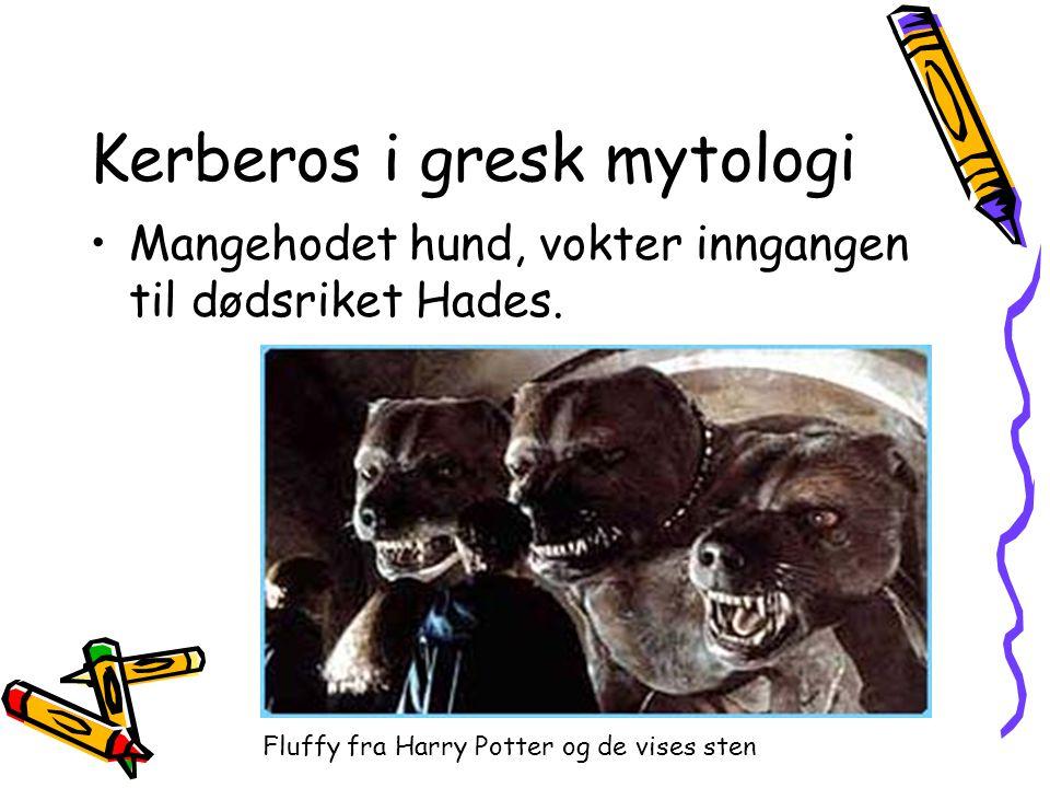 Kerberos i gresk mytologi •Mangehodet hund, vokter inngangen til dødsriket Hades. Fluffy fra Harry Potter og de vises sten