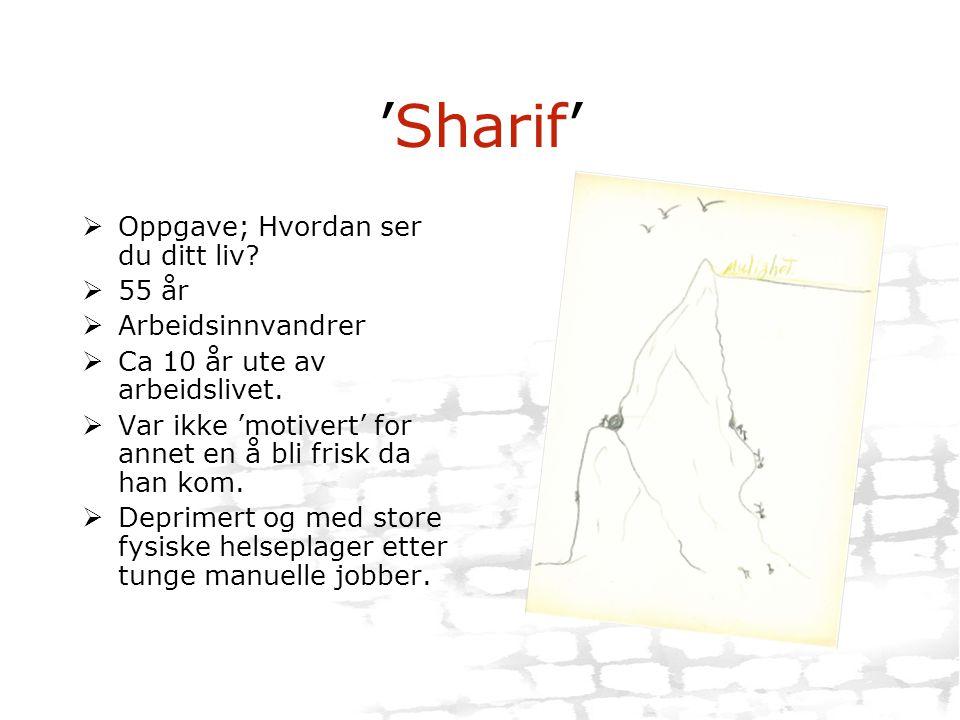 'Sharif'  Oppgave; Hvordan ser du ditt liv?  55 år  Arbeidsinnvandrer  Ca 10 år ute av arbeidslivet.  Var ikke 'motivert' for annet en å bli fris