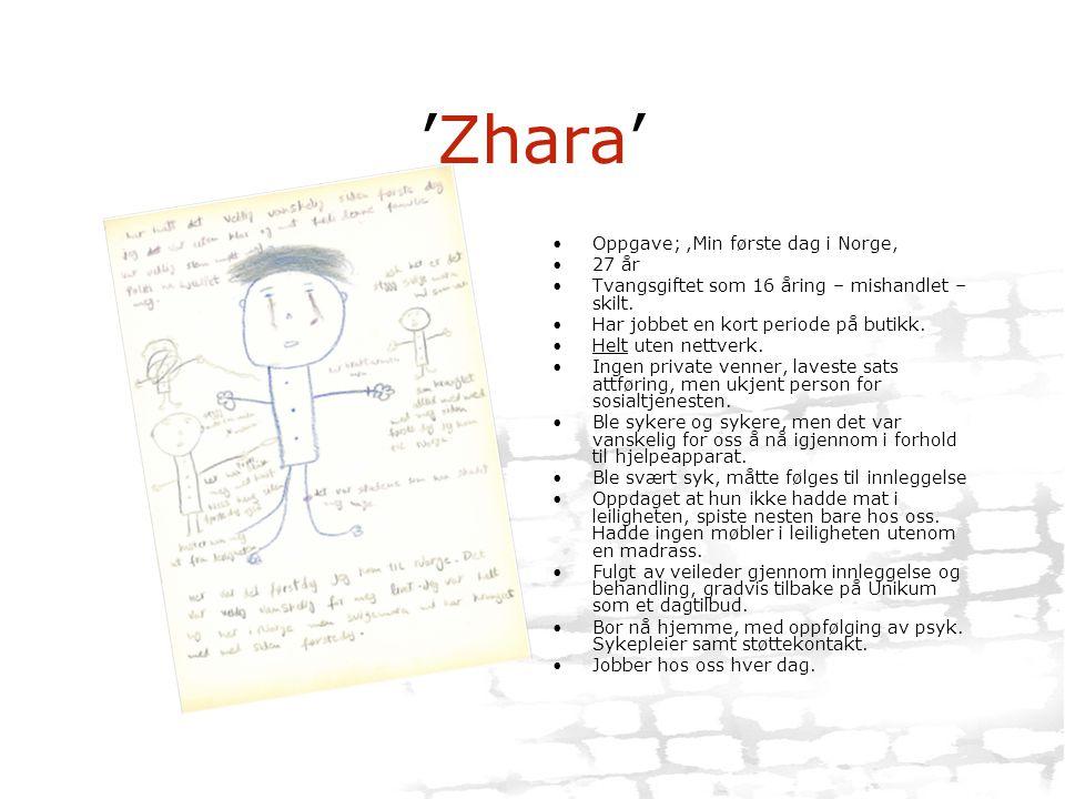 'Zhara' •Oppgave;,Min første dag i Norge, •27 år •Tvangsgiftet som 16 åring – mishandlet – skilt. •Har jobbet en kort periode på butikk. •Helt uten ne
