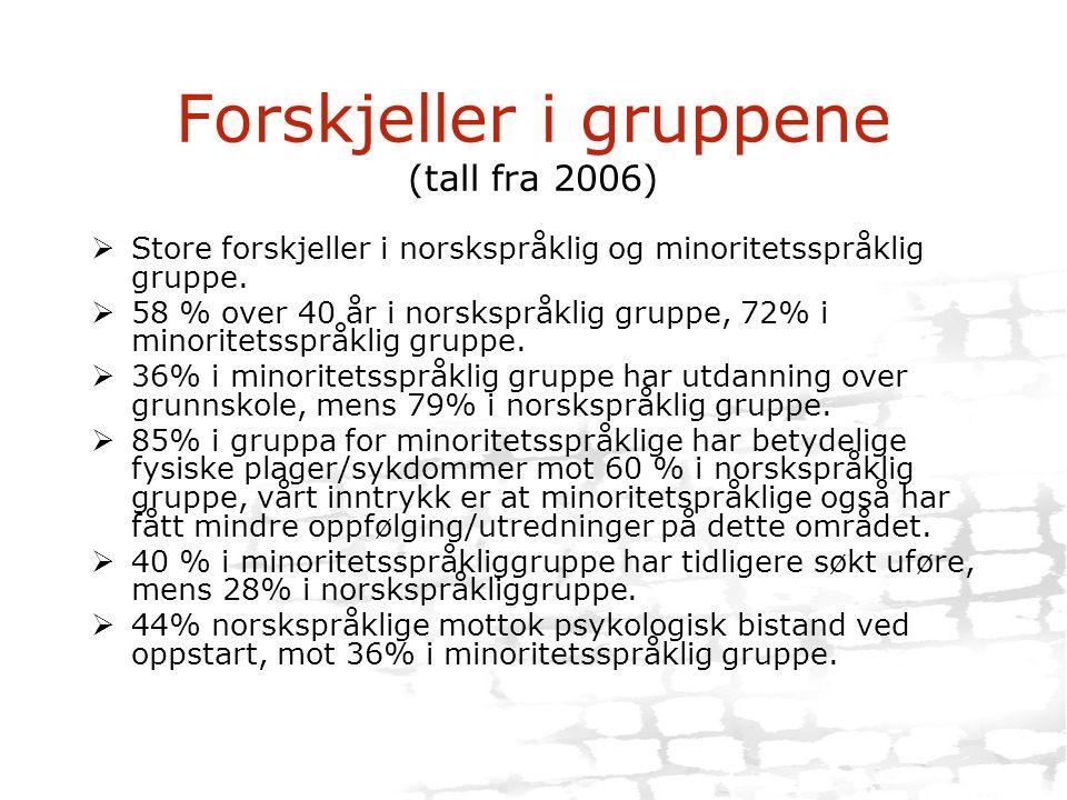Forskjeller i gruppene (tall fra 2006)  Store forskjeller i norskspråklig og minoritetsspråklig gruppe.  58 % over 40 år i norskspråklig gruppe, 72%