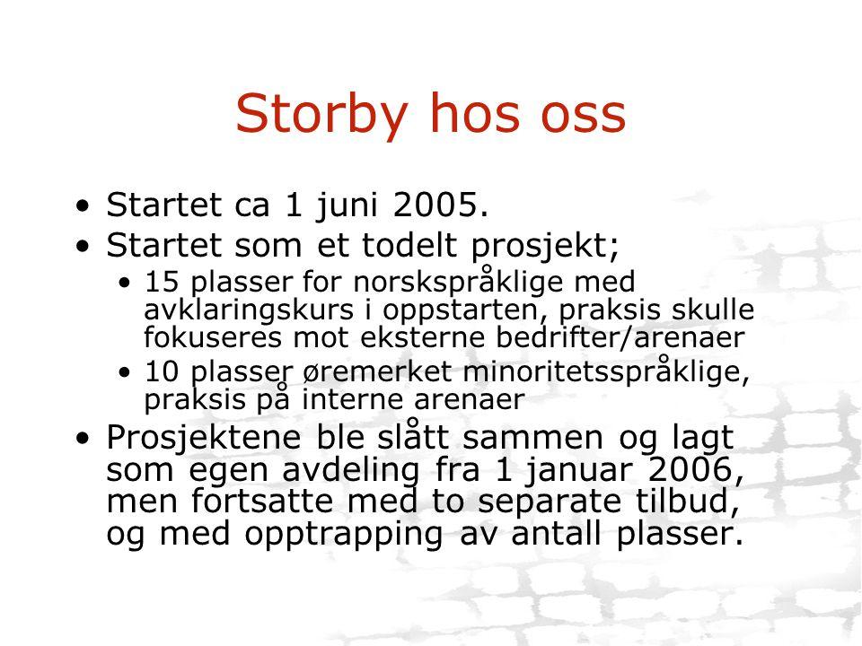 Storby hos oss •Startet ca 1 juni 2005. •Startet som et todelt prosjekt; •15 plasser for norskspråklige med avklaringskurs i oppstarten, praksis skull