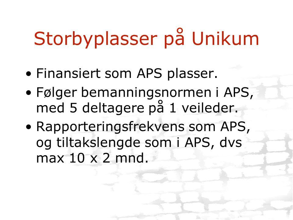Storbyplasser på Unikum •Finansiert som APS plasser. •Følger bemanningsnormen i APS, med 5 deltagere på 1 veileder. •Rapporteringsfrekvens som APS, og