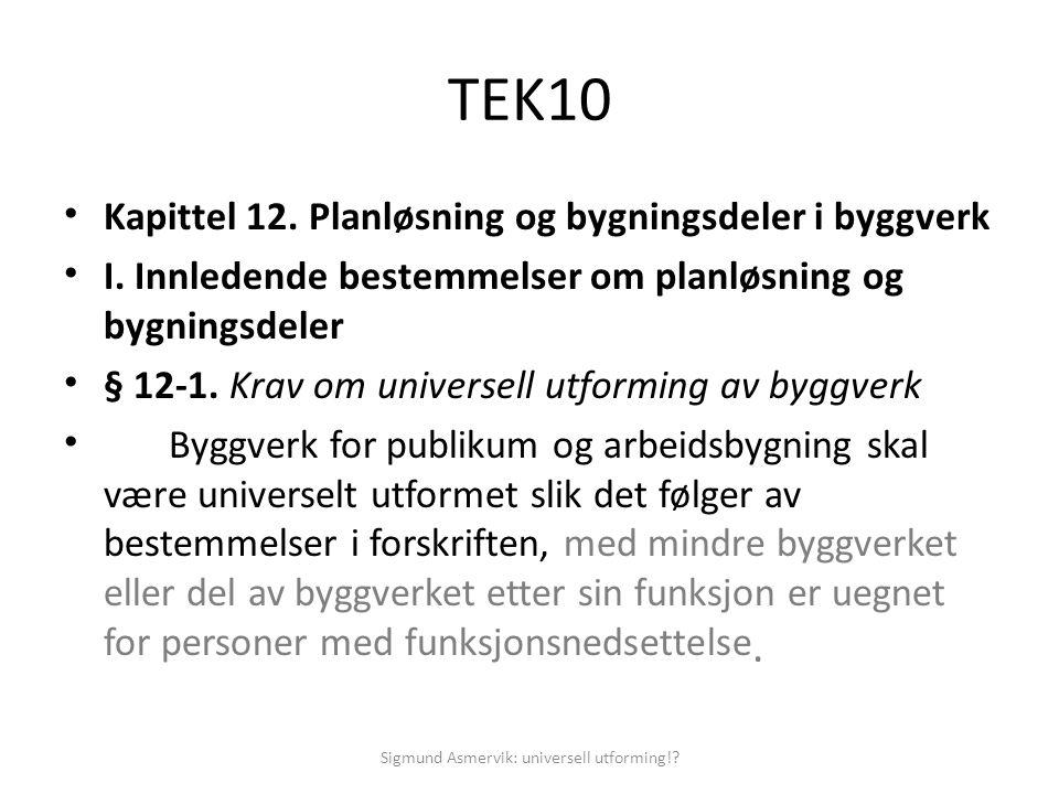 TEK10 • Kapittel 12. Planløsning og bygningsdeler i byggverk • I. Innledende bestemmelser om planløsning og bygningsdeler • § 12-1. Krav om universell