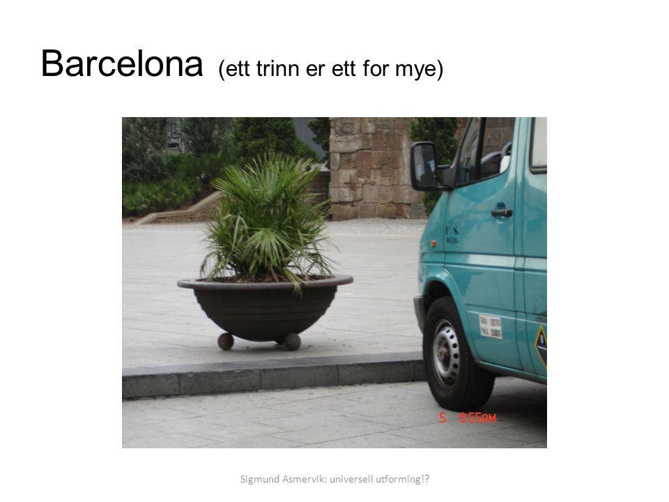 Barcelona (ett trinn er ett for mye) Sigmund Asmervik: universell utforming!?
