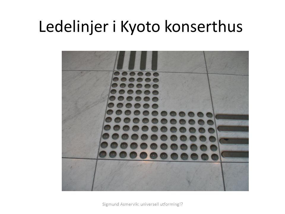 Ledelinjer i Kyoto konserthus Sigmund Asmervik: universell utforming!?