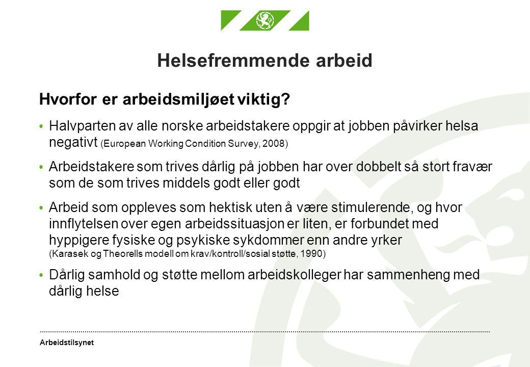 Arbeidstilsynet Helsefremmende arbeid Hvorfor er arbeidsmiljøet viktig? • Halvparten av alle norske arbeidstakere oppgir at jobben påvirker helsa nega