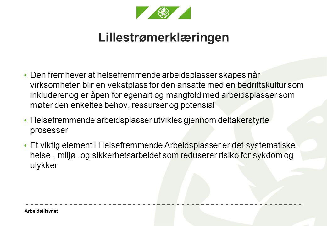 Arbeidstilsynet Lillestrømerklæringen • Den fremhever at helsefremmende arbeidsplasser skapes når virksomheten blir en vekstplass for den ansatte med