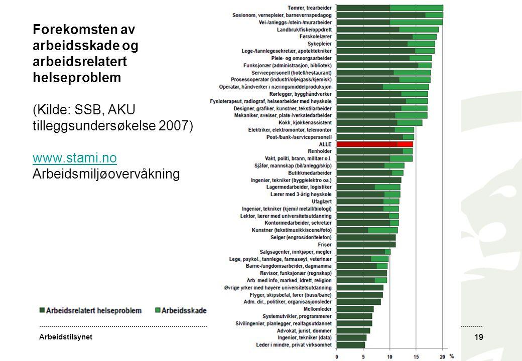 Arbeidstilsynet 19 Forekomsten av arbeidsskade og arbeidsrelatert helseproblem (Kilde: SSB, AKU tilleggsundersøkelse 2007) www.stami.no Arbeidsmiljøov