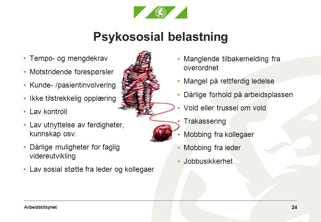 Arbeidstilsynet Psykososial belastning • Tempo- og mengdekrav • Motstridende forespørsler • Kunde- /pasientinvolvering • Ikke tilstrekkelig opplæring