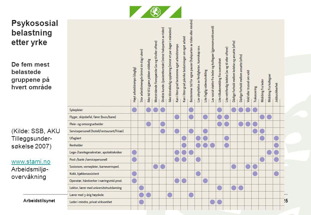 Arbeidstilsynet Psykososial belastning etter yrke De fem mest belastede gruppene på hvert område 25 (Kilde: SSB, AKU Tilleggsunder- søkelse 2007) www.