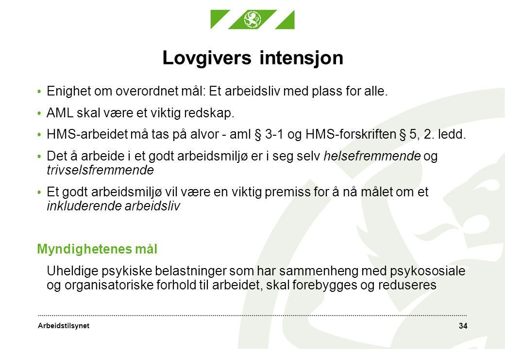 Arbeidstilsynet 34 Lovgivers intensjon • Enighet om overordnet mål: Et arbeidsliv med plass for alle. • AML skal være et viktig redskap. • HMS-arbeide