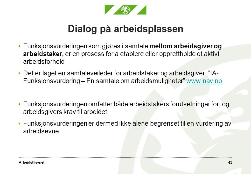Arbeidstilsynet 43 Dialog på arbeidsplassen • Funksjonsvurderingen som gjøres i samtale mellom arbeidsgiver og arbeidstaker, er en prosess for å etabl
