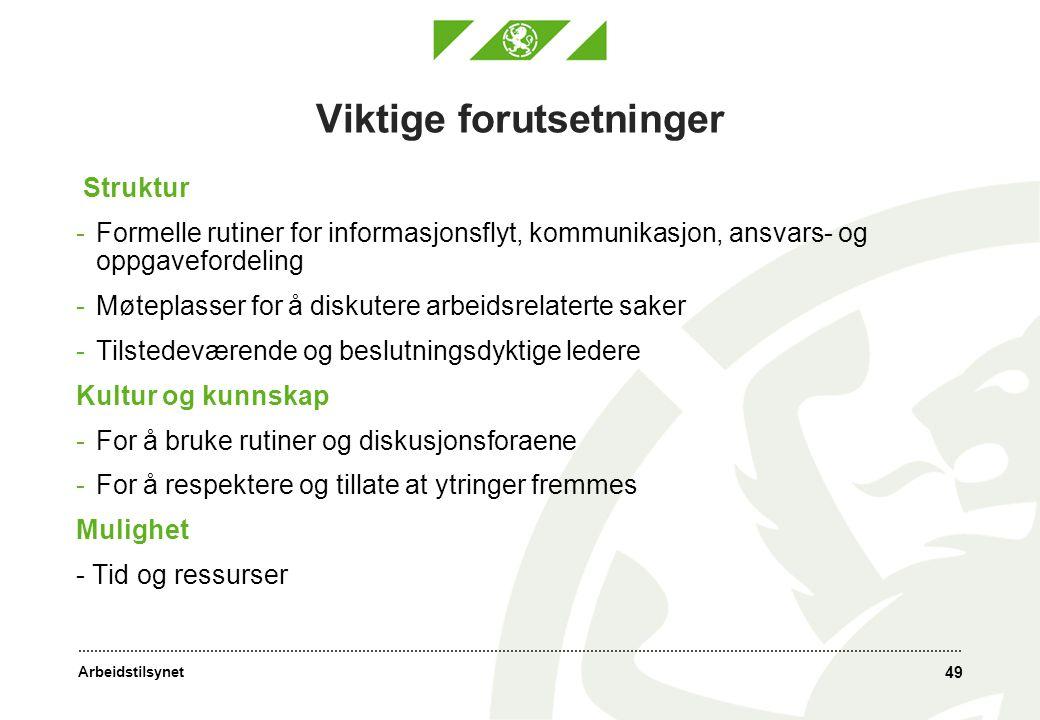 Arbeidstilsynet 49 Viktige forutsetninger Struktur -Formelle rutiner for informasjonsflyt, kommunikasjon, ansvars- og oppgavefordeling -Møteplasser fo