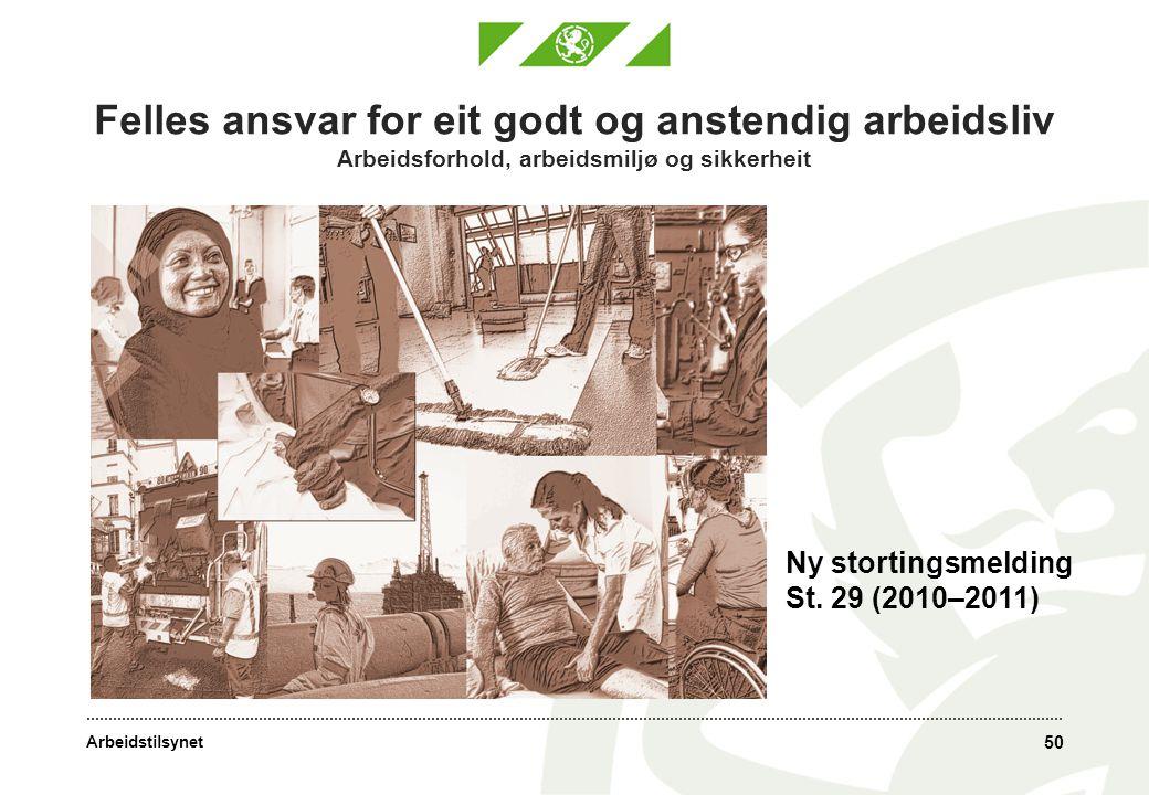 Arbeidstilsynet Felles ansvar for eit godt og anstendig arbeidsliv Arbeidsforhold, arbeidsmiljø og sikkerheit 50 Ny stortingsmelding St. 29 (2010–2011