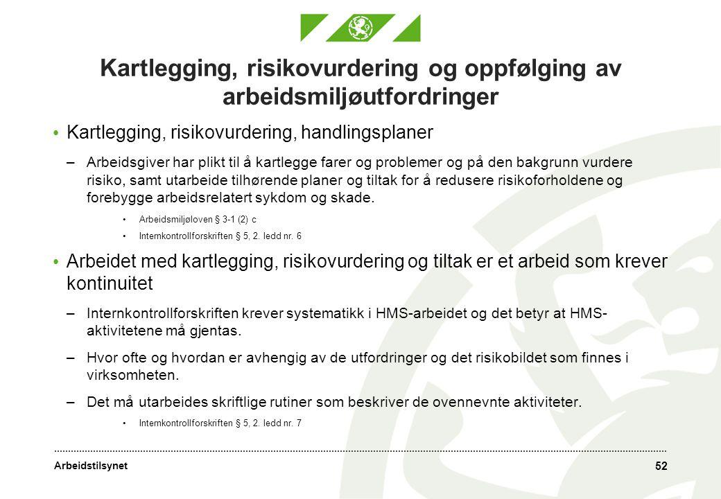 Arbeidstilsynet 52 Kartlegging, risikovurdering og oppfølging av arbeidsmiljøutfordringer • Kartlegging, risikovurdering, handlingsplaner –Arbeidsgive