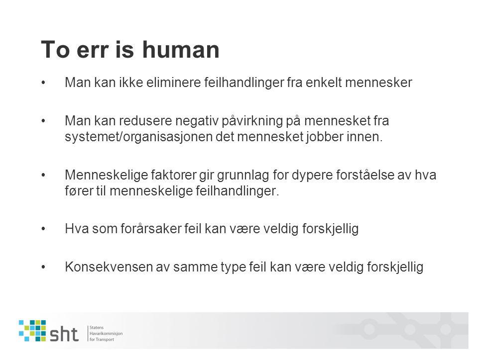 To err is human •Man kan ikke eliminere feilhandlinger fra enkelt mennesker •Man kan redusere negativ påvirkning på mennesket fra systemet/organisasjo