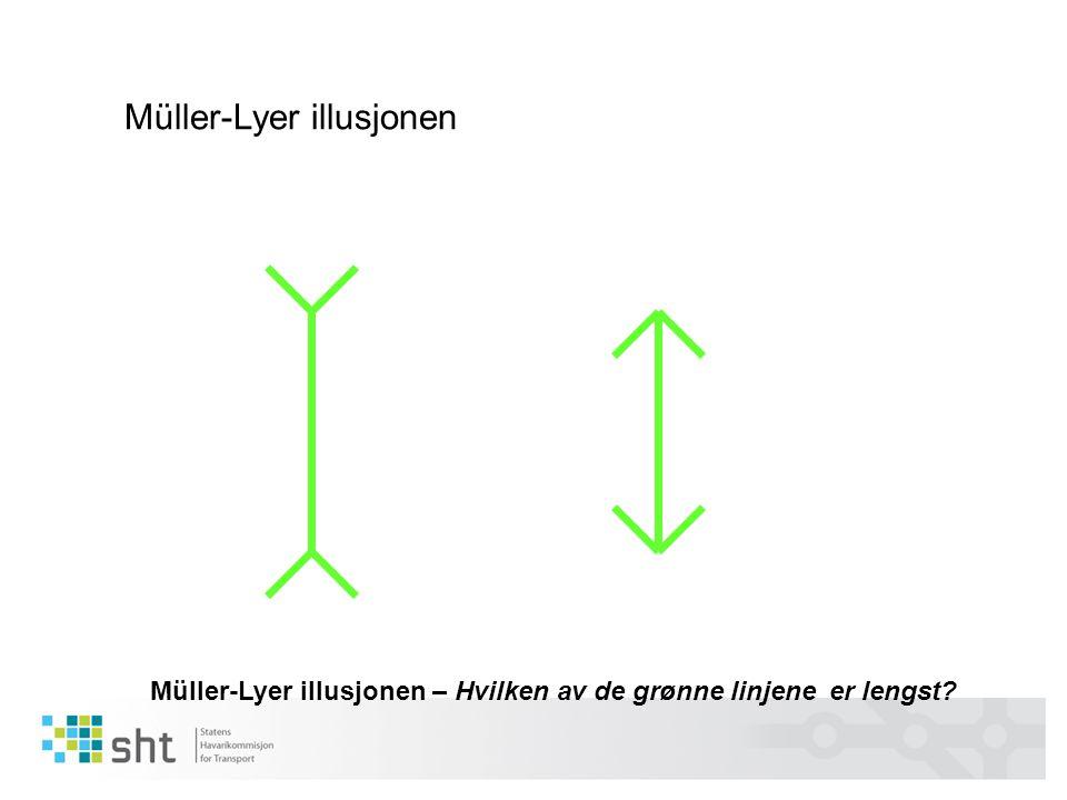 Müller-Lyer illusjonen – Hvilken av de grønne linjene er lengst? Müller-Lyer illusjonen