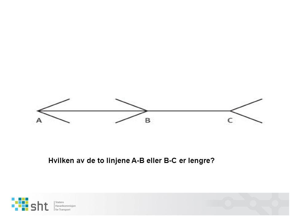 Hvilken av de to linjene A-B eller B-C er lengre?