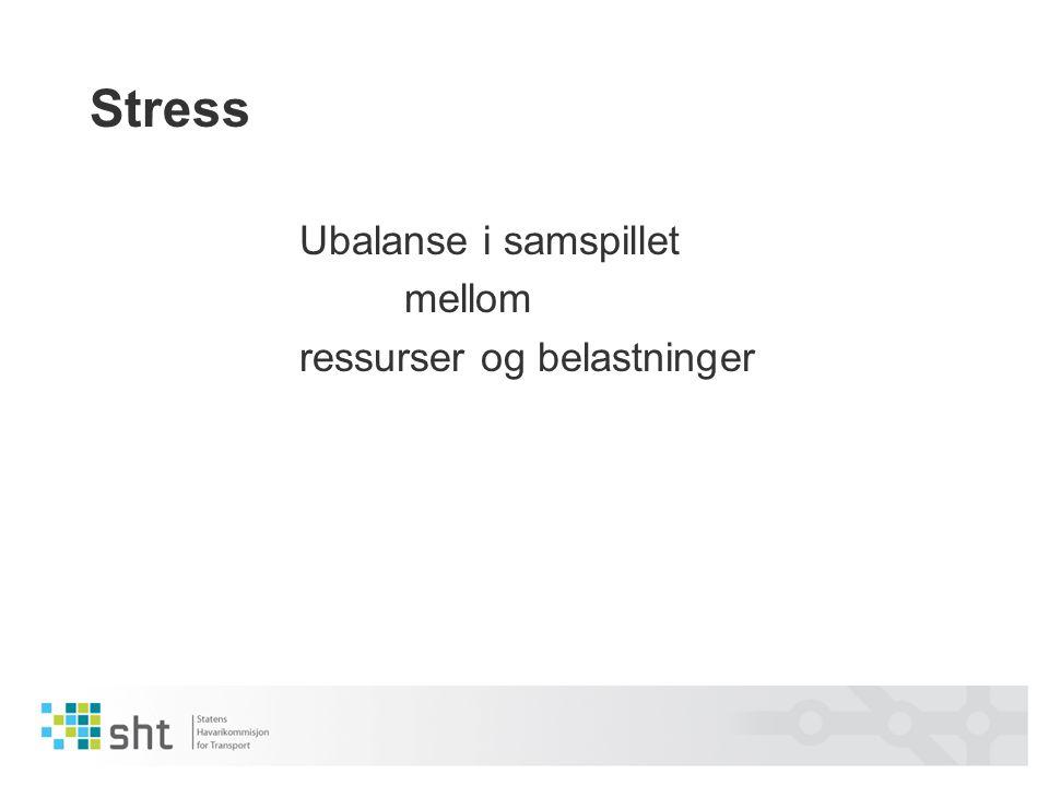 Stress Ubalanse i samspillet mellom ressurser og belastninger