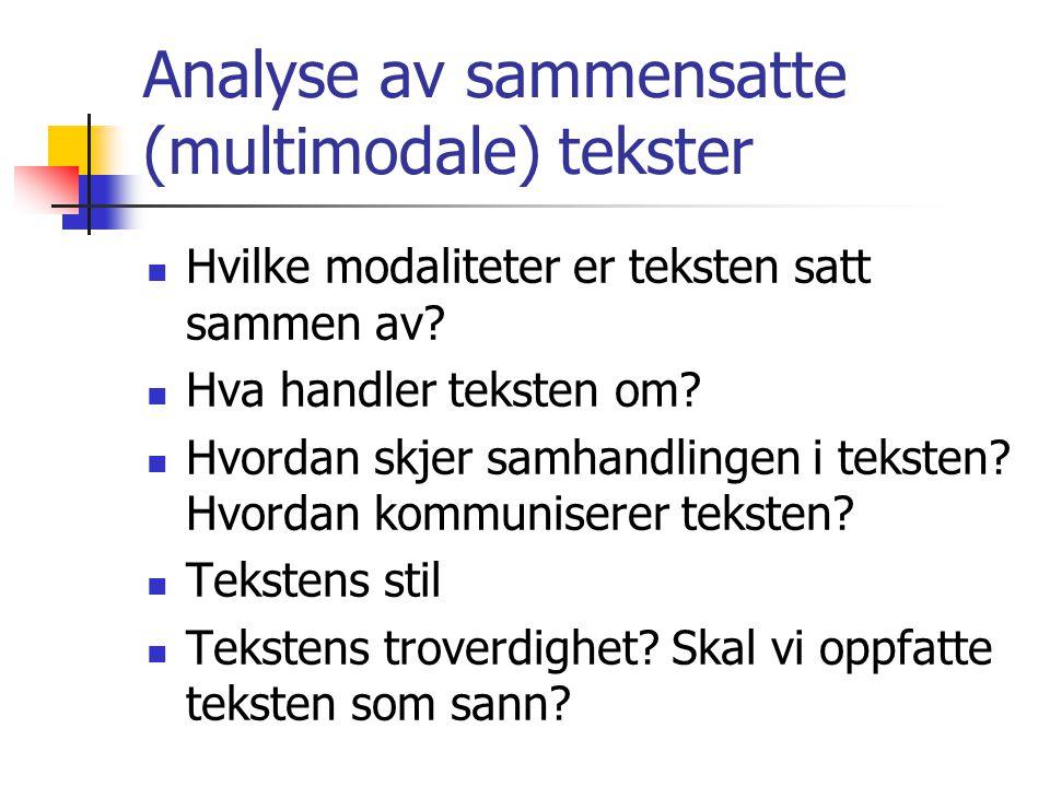 Analyse av sammensatte (multimodale) tekster  Hvilke modaliteter er teksten satt sammen av.