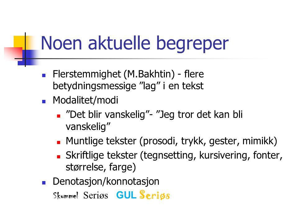 Noen aktuelle begreper  Flerstemmighet (M.Bakhtin) - flere betydningsmessige lag i en tekst  Modalitet/modi  Det blir vanskelig - Jeg tror det kan bli vanskelig  Muntlige tekster (prosodi, trykk, gester, mimikk)  Skriftlige tekster (tegnsetting, kursivering, fonter, størrelse, farge)  Denotasjon/konnotasjon Skummel Seriøs GUL Seriøs