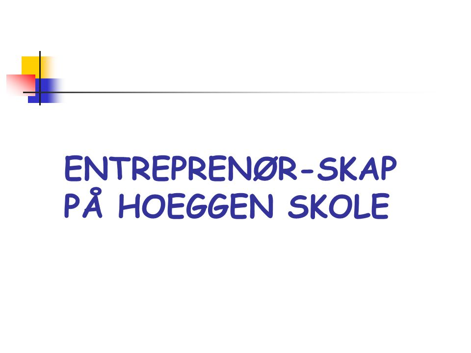 ENTREPRENØRSKAP Entreprenørskap er en dynamisk og sosial prosess, der individer, alene eller i samarbeid, identifiserer muligheter og gjør noe med dem ved å omforme ideer til praktisk og målrettet aktivitet, det være seg i sosial, kulturell eller økonomisk sammenheng. Strategiplanens definisjon