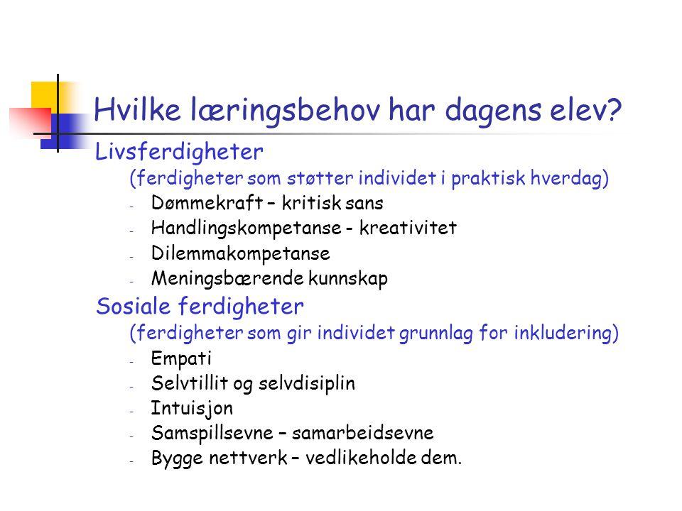 Hvilke læringsbehov har dagens elev? Livsferdigheter (ferdigheter som støtter individet i praktisk hverdag) - Dømmekraft – kritisk sans - Handlingskom