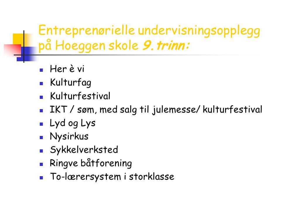 Entreprenørielle undervisningsopplegg på Hoeggen skole 9.trinn:  Her è vi  Kulturfag  Kulturfestival  IKT / søm, med salg til julemesse/ kulturfes