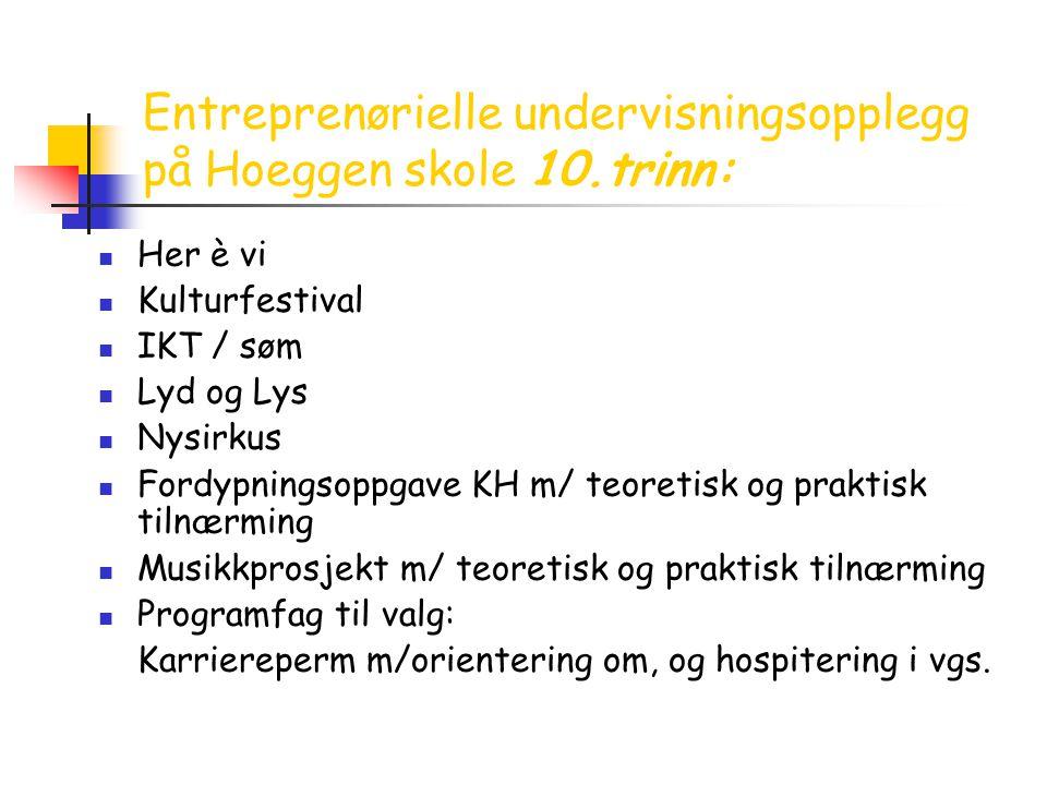 Entreprenørielle undervisningsopplegg på Hoeggen skole 10.trinn:  Her è vi  Kulturfestival  IKT / søm  Lyd og Lys  Nysirkus  Fordypningsoppgave