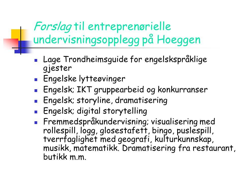 Forslag til entreprenørielle undervisningsopplegg på Hoeggen  Lage Trondheimsguide for engelskspråklige gjester  Engelske lytteøvinger  Engelsk; IK