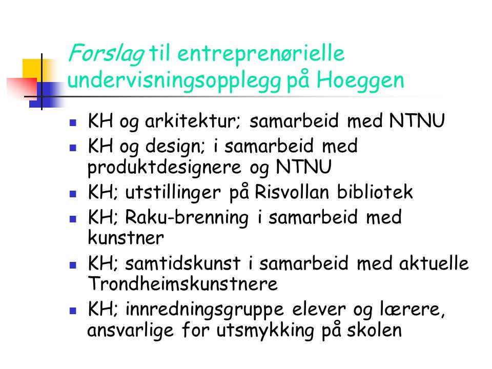 Forslag til entreprenørielle undervisningsopplegg på Hoeggen  KH og arkitektur; samarbeid med NTNU  KH og design; i samarbeid med produktdesignere o