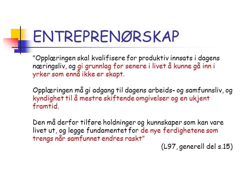 ENTREPRENØRSKAP Hva er entreprenørskap.