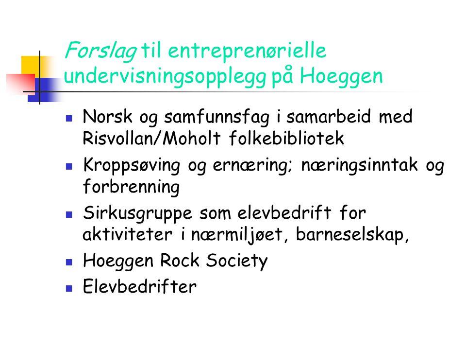 Forslag til entreprenørielle undervisningsopplegg på Hoeggen  Norsk og samfunnsfag i samarbeid med Risvollan/Moholt folkebibliotek  Kroppsøving og e