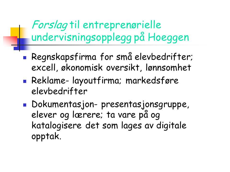 Forslag til entreprenørielle undervisningsopplegg på Hoeggen  Regnskapsfirma for små elevbedrifter; excell, økonomisk oversikt, lønnsomhet  Reklame-