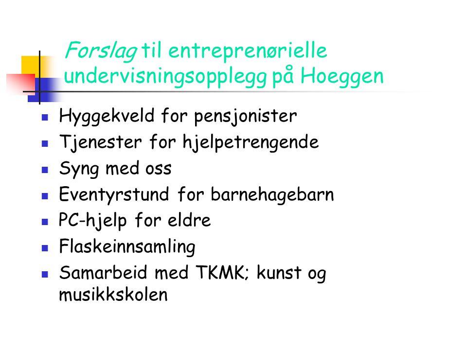 Forslag til entreprenørielle undervisningsopplegg på Hoeggen  Hyggekveld for pensjonister  Tjenester for hjelpetrengende  Syng med oss  Eventyrstu