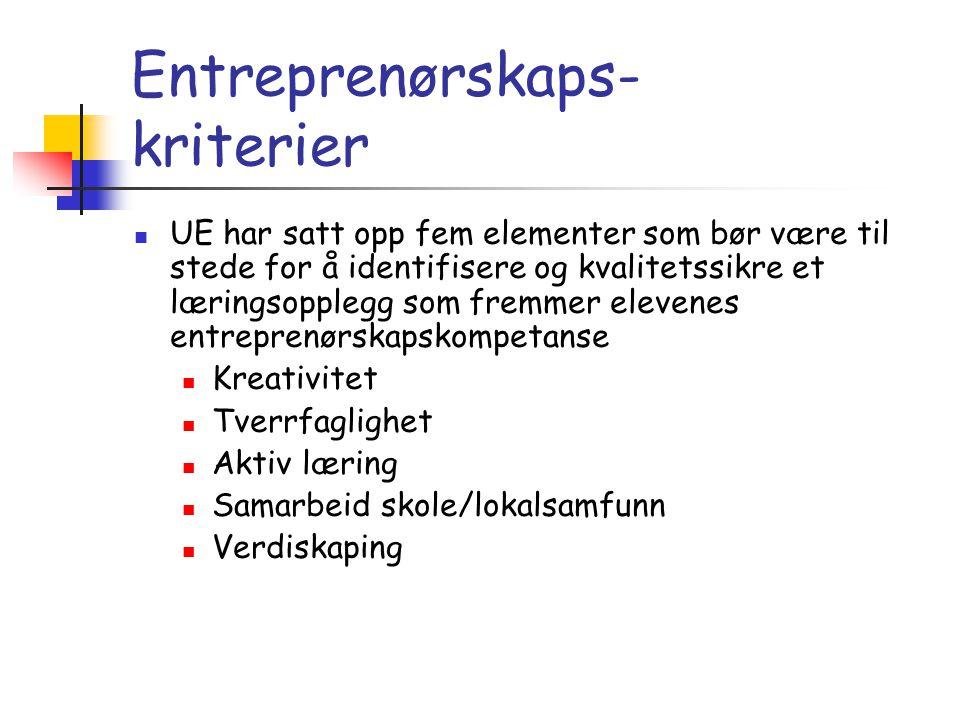Entreprenørskaps- kriterier  UE har satt opp fem elementer som bør være til stede for å identifisere og kvalitetssikre et læringsopplegg som fremmer