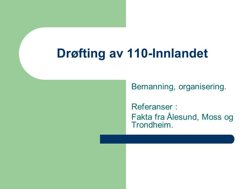 Drøfting av 110-Innlandet Bemanning, organisering. Referanser : Fakta fra Ålesund, Moss og Trondheim.
