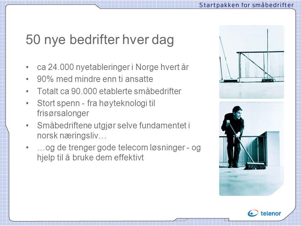 50 nye bedrifter hver dag • ca 24.000 nyetableringer i Norge hvert år • 90% med mindre enn ti ansatte • Totalt ca 90.000 etablerte småbedrifter • Stor