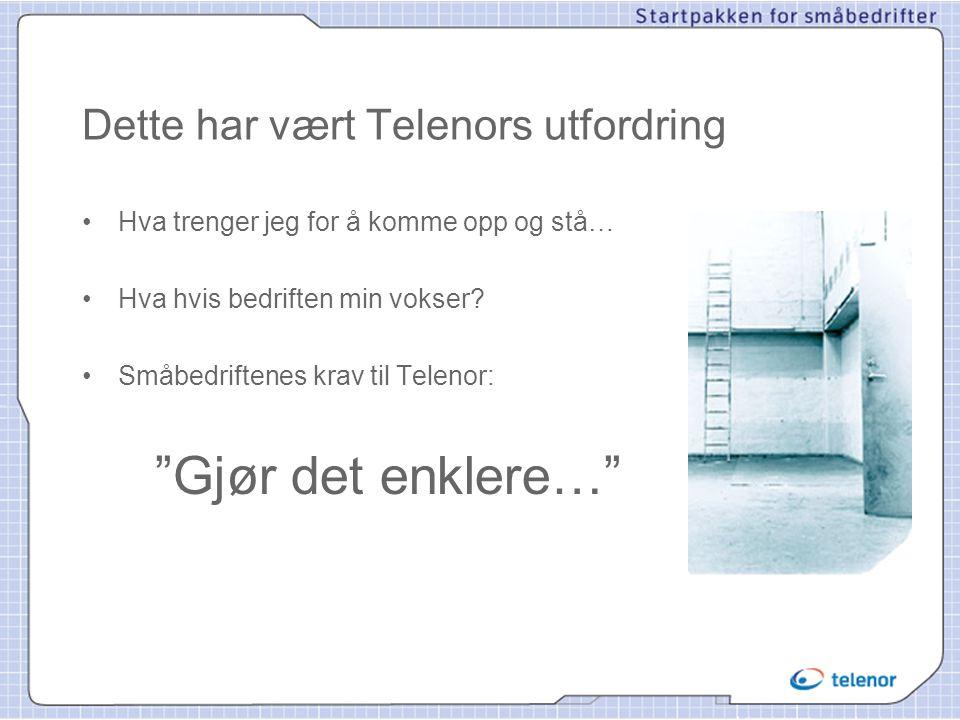 Kort oppsummert •Telenor har tatt småbedriftene på alvor •Startpakken gir deg; –3 abonnement i ett –Felles installasjon –Ett kontaktpunkt for all support –God pris –Ett eget webkontor