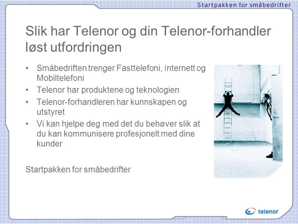 Slik har Telenor og din Telenor-forhandler løst utfordringen • Småbedriften trenger Fasttelefoni, Internett og Mobiltelefoni • Telenor har produktene