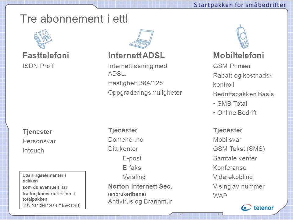 Tre abonnement i ett! Fasttelefoni ISDN Proff Tjenester Personsvar Intouch Internett ADSL Internettløsning med ADSL. Hastighet: 384/128 Oppgraderingsm