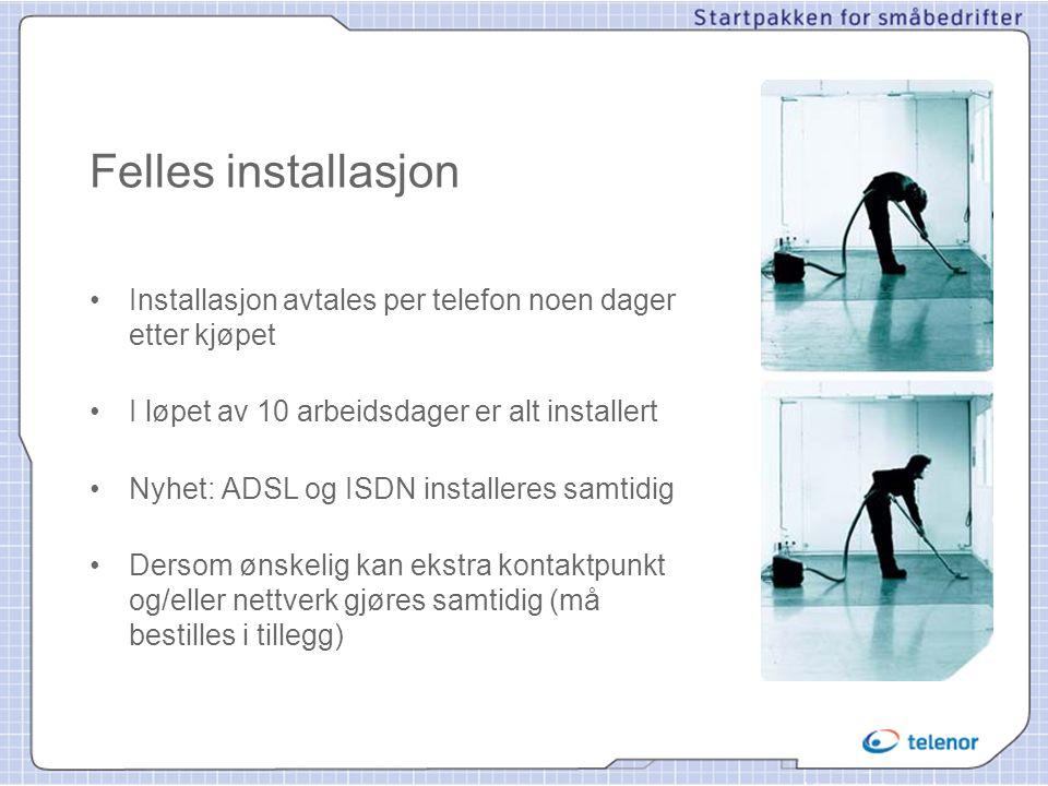 Felles installasjon •Installasjon avtales per telefon noen dager etter kjøpet •I løpet av 10 arbeidsdager er alt installert •Nyhet: ADSL og ISDN insta