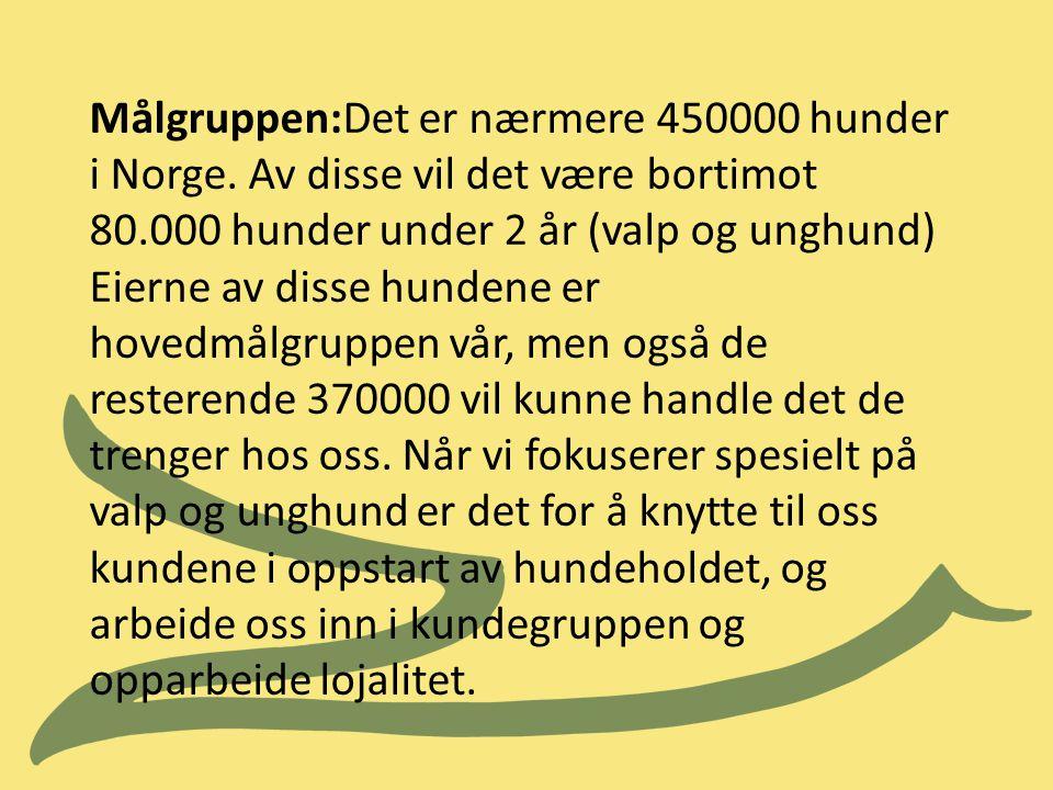 Målgruppen:Det er nærmere 450000 hunder i Norge. Av disse vil det være bortimot 80.000 hunder under 2 år (valp og unghund) Eierne av disse hundene er