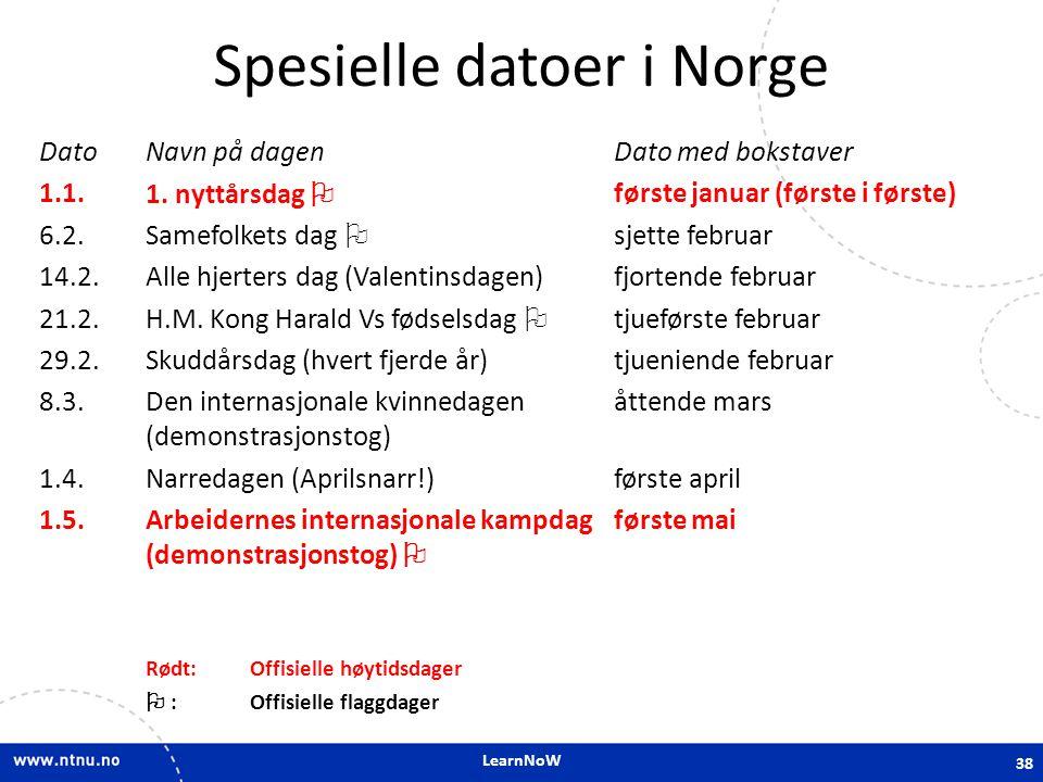 LearnNoW Spesielle datoer i Norge Dato 1.1.6.2. 14.2.