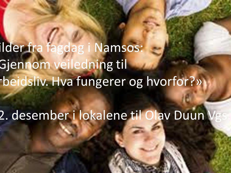 Bilder fra fagdag i Namsos: «Gjennom veiledning til arbeidsliv. Hva fungerer og hvorfor?» 12. desember i lokalene til Olav Duun Vgs.