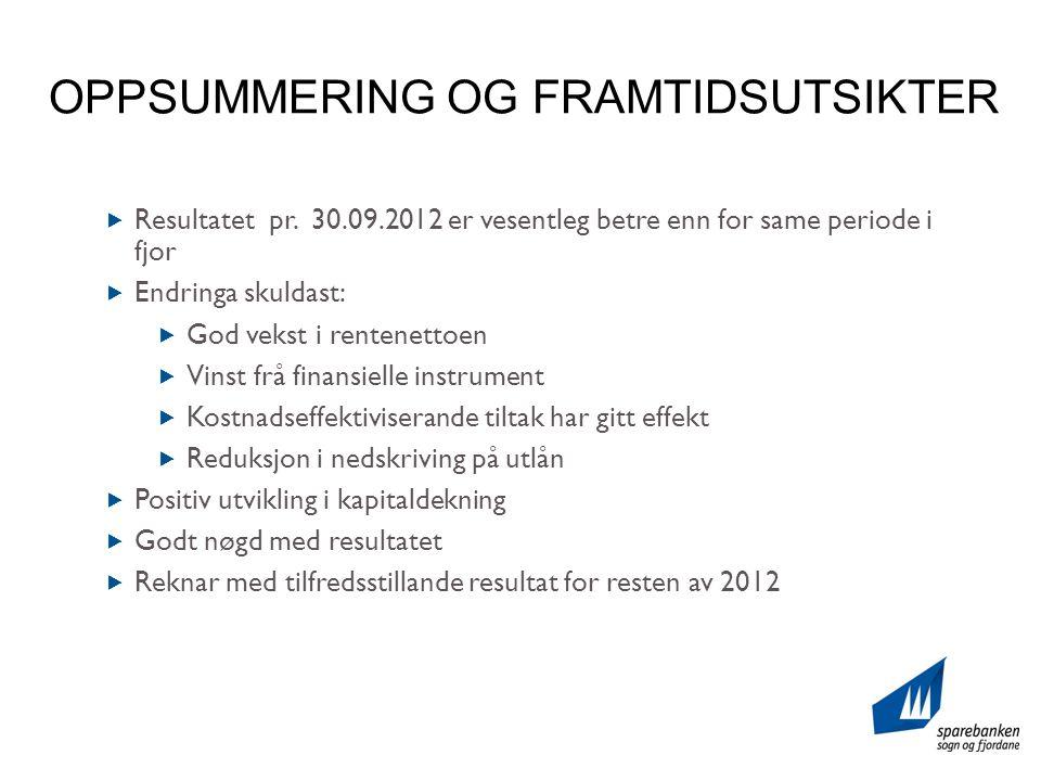 OPPSUMMERING OG FRAMTIDSUTSIKTER  Resultatet pr.
