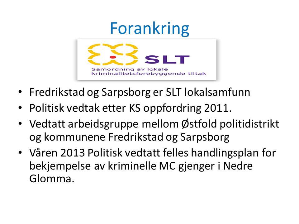 Forankring • Fredrikstad og Sarpsborg er SLT lokalsamfunn • Politisk vedtak etter KS oppfordring 2011. • Vedtatt arbeidsgruppe mellom Østfold politidi
