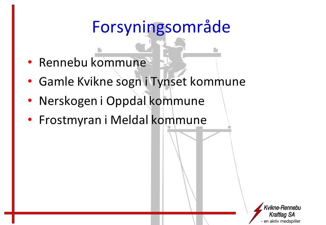 Forsyningsområde • Rennebu kommune • Gamle Kvikne sogn i Tynset kommune • Nerskogen i Oppdal kommune • Frostmyran i Meldal kommune