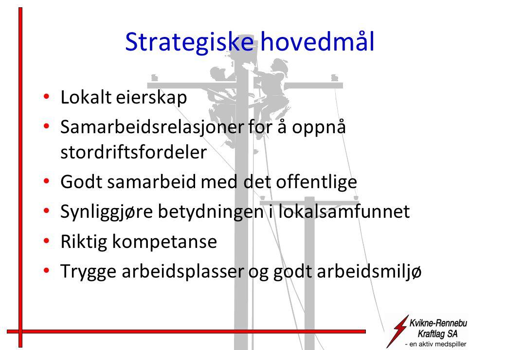 Strategiske hovedmål • Lokalt eierskap • Samarbeidsrelasjoner for å oppnå stordriftsfordeler • Godt samarbeid med det offentlige • Synliggjøre betydningen i lokalsamfunnet • Riktig kompetanse • Trygge arbeidsplasser og godt arbeidsmiljø