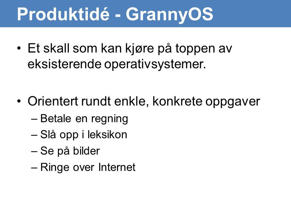 Produktidé - GrannyOS •Et skall som kan kjøre på toppen av eksisterende operativsystemer.